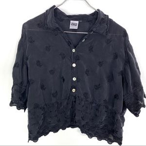 Johnny Was Black Floral Embroidered Blouse Medium